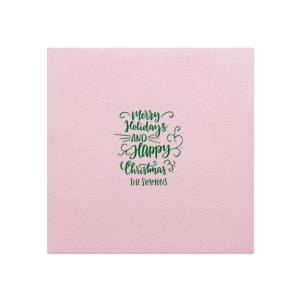 Our personalized Pastel Pink Cocktail Napkin with Shiny Leaf Foil has a Merry Holidays graphic and is good for use in Christmas, Holiday, Words themed parties and are a must-have for your next event—whatever the celebration!