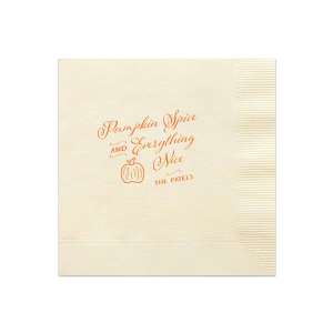 Personalized Ivory Cocktail Napkin with Matte Tangerine Foil has a Pumpkin graphic and is good for use in Thanksgiving, Halloween and Autumn themed parties and can be personalized to match your party's exact theme and tempo.