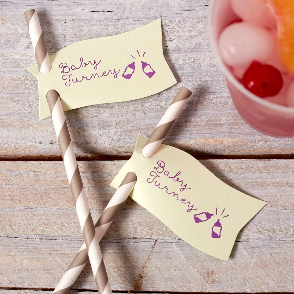 custom baby shower mint and plum straw tags