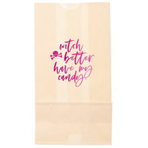 Our personalized Ivory Party Bag with Shiny Fuchsia Foil has a Skull & Crossbones graphic and is good for use in Halloween themed parties and will impress guests like no other. Make this party unforgettable.