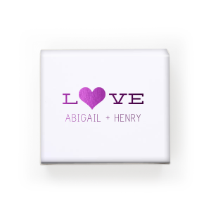 Our custom Natural White Rectangle Box with Shiny Amethyst Foil Color has a Heart Solid graphic and is good for use in Hearts themed parties and will give your party the personalized touch every host desires.