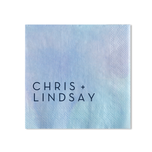 Our custom Watercolor Ocean Cocktail Napkin with Navy Foil will look fabulous with your personalization. Your guests will agree!