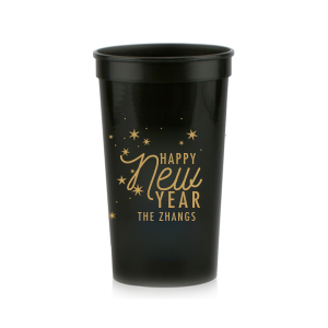 Our personalized Black 16 oz Stadium Cup with Gold Ink Cup Ink Colors has a Starry Night graphic and is good for use in Full Bleed themed parties and will give your party the personalized touch every host desires.