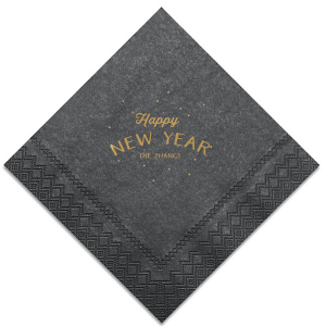 Our custom Black Cocktail Napkin with Satin 18 Kt. Gold Foil Color has a starburst stars graphic and is good for use in Lovely Press themed parties and can be customized to complement every last detail of your party.