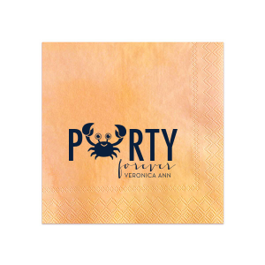 Our beautiful custom Light Coral Cocktail Napkin with Matte Navy Foil has a crab 2 graphic and is good for use in Animals, Baby Animals, Beach/Nautical themed parties and are a must-have for your next event—whatever the celebration!