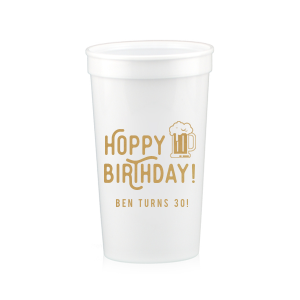 Custom White 16 oz Stadium Cup with Gold Ink Cup Ink Colors has a Brew graphic and is good for use in Drinks themed parties and will look fabulous with your unique touch. Your guests will agree!