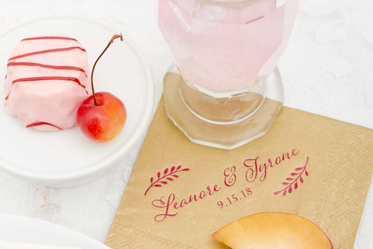 shimmer wedding cocktail napkins