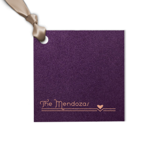 Our custom Stardream Eggplant Square Gift Tag with Shiny Rose Gold Foil has a Heart Flourish graphic and is good for use in Hearts, Accents, Wedding themed parties and will impress guests like no other. Make this party unforgettable.