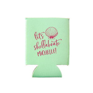 Our custom Mint Flat Can Cooler with Matte Fuchsia Ink Cup Ink Colors has a Shell 1 graphic and is good for use in Beach/Nautical themed parties and are a must-have for your next event—whatever the celebration!