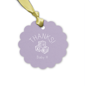 Custom Poptone Lavender Heart Gift Tag with Matte White Foil Color has a Baby Blocks graphic and is good for use in Baby Shower, Kid Birthday themed parties and couldn't be more perfect. It's time to show off your impeccable taste.