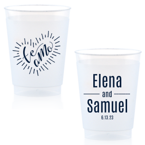 Our beautiful custom Matte Navy Ink 16 oz Frost Flex Cup with Matte Navy Ink Print Color has a Te Amo graphic and is good for use in Words themed parties and will make your guests swoon. Personalize your party's theme today.