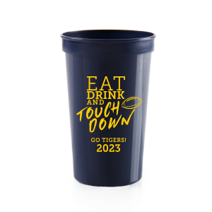 Personalized Navy 16 oz Stadium Cup with Matte Sunflower Ink Cup Ink Colors has a Football graphic and is good for use in Sports themed parties and can be personalized to match your party's exact theme and tempo.
