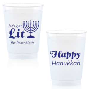 ForYourParty's chic Matte Cobalt Ink 10 oz Frost Flex Cup with Matte Cobalt Ink Cup Ink Colors has a Menorah graphic and is good for use in Jewish Symbols, Holiday themed parties and will impress guests like no other. Make this party unforgettable.