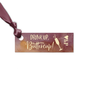 ForYourParty's elegant Watercolor Sangria Rectangle Gift Tag with Matte Ivory Foil has a Single flute graphic and is good for use in Drinks, Holiday, Wedding themed parties and can be customized to complement every last detail of your party.