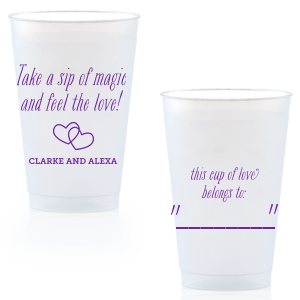 Create wedding details so perfect, they're magical. Customize this plastic cup for wedding barware that can double as a personalized party favor! Our Interlocking Hearts graphic will fit any theme. Simply choose your colors and add your names.