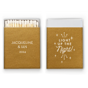 Our custom Metallic 18 Karat Gloss Gold Classic Matchbox with Matte White Foil has a Light the Night graphic and is good for use in Wedding, Words, Anniversary themed parties and will add that special attention to detail that cannot be overlooked.