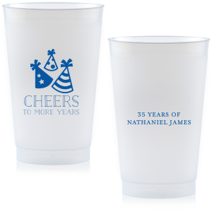 Throw a party to remember with custom barware! Add the guest of honor's name and cheers to many more years with these plastic color cups. Our casual block font and party hat graphics will make these instant party favorites perfect for any birthday.