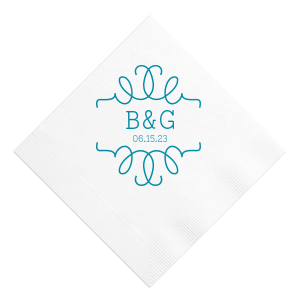 Our custom White Luncheon Napkin with Satin Teal / Peacock Foil can't be beat. Showcase your style in every detail of your party's theme!