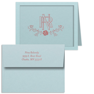 Entwined Initials Note Card With Envelope