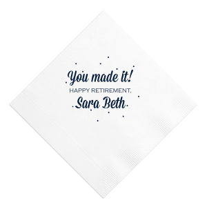 ForYourParty's chic White Cocktail Napkin with Matte Navy Imprint Foil Color has a Glitter Design graphic  and is good for use in Lovely Press themed parties and are a must-have for your next event—whatever the celebration!