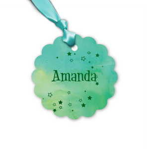 The ever-popular Watercolor Seaglass Butterfly Gift Tag with Shiny Leaf Foil has a Stream of Stars graphic and is good for use in Star, Butterfly, Kid Birthday themed parties and can be personalized to match your party's exact theme and tempo.