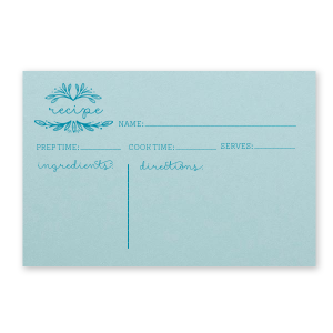 Our personalized Poptone Sky Blue Recipe Card with Satin Teal / Peacock Foil has a Rustic Leaf Frame graphic and is good for use in Bridal, Birthday, Wedding themed parties and will look fabulous with your unique touch. Your guests will agree!