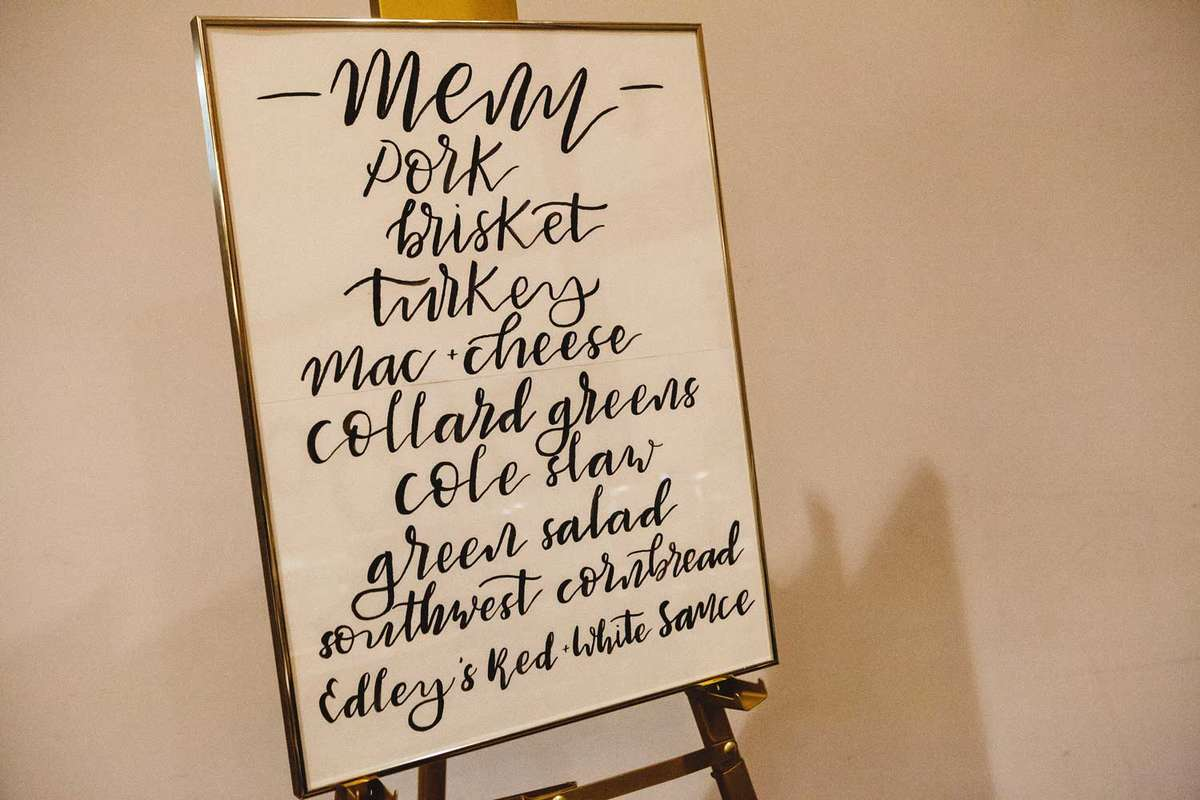 organic elegant wedding hand lettered menu