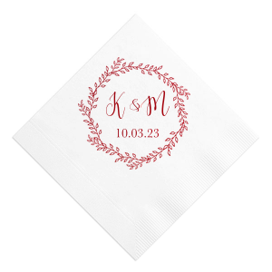 ForYourParty's personalized Honeydew Cocktail Napkin with Shiny Turquoise Foil Color has a Rustic Wreath graphic and is good for use in Frames themed parties and will give your party the personalized touch every host desires.