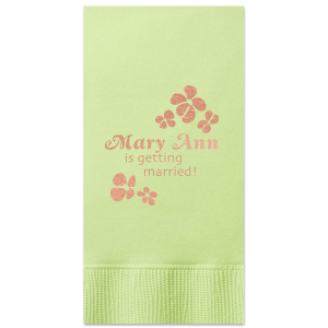 The ever-popular Honeydew Cocktail Napkin with Shiny Rose Gold Foil will make your guests swoon. Personalize your party's theme today.