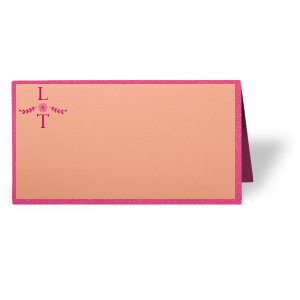 Personalized Poptone Peach Classic Place Card with Shiny Fuchsia Foil has a Sunflower Bouquet Accent graphic and is good for use in Wedding and Home themed parties and can be customized to complement every last detail of your party.