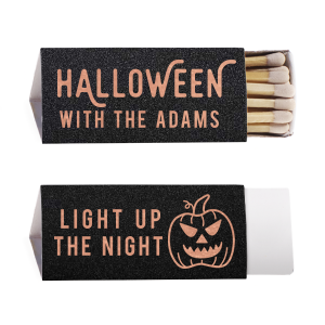 Our custom Stardream Black Euro Matchbox with Shiny Rose Gold Foil has a Scary Pumpkin graphic and is good for use in Halloween themed parties and will make your guests swoon. Personalize your party's theme today.