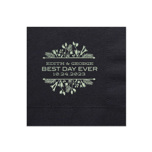 Have the best party details ever with this personalized napkin. Our Green Tea foil and Floral Frame make this design perfect for a summer or spring wedding. Add your names and wedding date for a bar addition you and your guests will love!