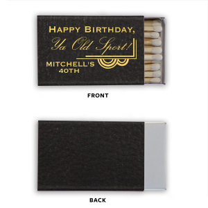 ForYourParty's elegant Black Classic Leather Matchbox with Shiny 18 Kt Gold foil has a Deco Corner Flourish graphic that is perfect for Great Gatsby, 20's or other classy themed parties and can be customized to complement every last detail of your party.