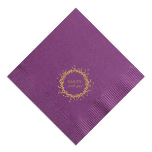 Personalized Plum Cocktail Napkin with Satin 18 Kt. Gold Foil Color has a Confetti Frame graphic and is good for use in Frames themed parties and will make your guests swoon. Personalize your party's theme today.