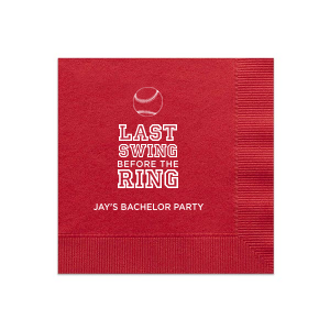 Ideal for a baseball themed bachelor party, personalize these napkins for a home run bar accent! Our Baseball graphic and classic varsity sports block font will be the perfect complement to your groom's name.