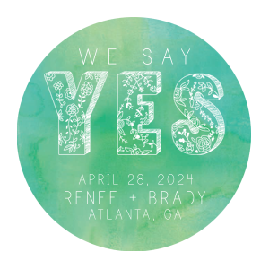 ForYourParty's personalized Green Watercolor Photo/Full Color Square Coaster with White Ink Digital Print Colors has a YES graphic and is good for use in Garden themed parties and can be personalized to match your party's exact theme and tempo.