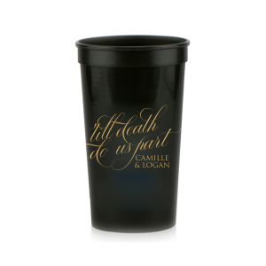 Our custom Black 16 oz Stadium Cup with Gold Ink Cup Ink Colors couldn't be more perfect. It's time to show off your impeccable taste.
