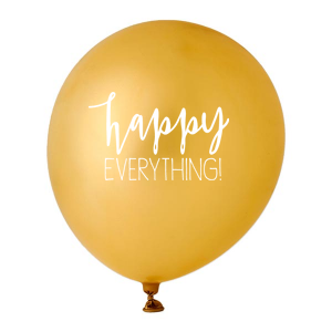 ForYourParty's elegant Gold Designer Balloon with White Ink Ink Color has a Happy everything graphic and is good for use in Words, Holiday, Birthday themed parties and will add that special attention to detail that cannot be overlooked.