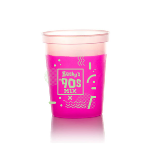Our custom Hot Pink 16 oz Stadium Cup with Matte Sage Ink Cup Ink Colors has a Confetti Frame 3 graphic and is good for use in Accents, Birthday, Organic themed parties and couldn't be more perfect. It's time to show off your impeccable taste.