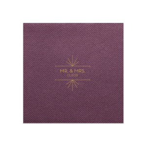 The ever-popular Eggplant Linen Like Dinner Napkin with Satin 18 Kt. Gold Foil Color has a Line Frame graphic and is good for use in Modern, Industrial themed parties and can be personalized to match your party's exact theme and tempo.
