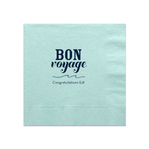 Our custom Aqua Cocktail Napkin with Matte Navy Imprint Foil Color has a Wave Flourish graphic and is good for use in Nautical themed parties and couldn't be more perfect. It's time to show off your impeccable taste.