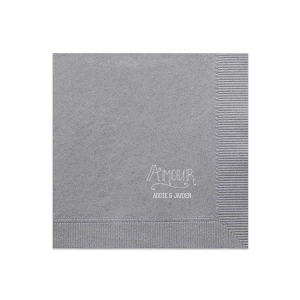 Our custom Platinum Cocktail Napkin with Matte White Foil Color has a Amour graphic and is good for use in Words themed parties and can't be beat. Showcase your style in every detail of your party's theme!