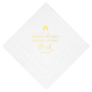 ForYourParty's elegant White Cocktail Napkin with Shiny 18 Kt Gold Foil has a Flutes 2 graphic and is good for use in Drinks, Wedding, Holiday themed parties and will give your party the personalized touch every host desires.