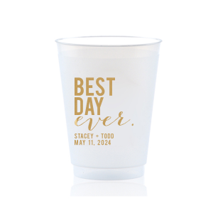 Our custom Gold Ink 10 oz Frost Flex Cup with Gold Ink Cup Ink Colors will make your guests swoon. Personalize your party's theme today.
