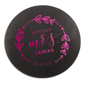 Our personalized White Round Coaster with Shiny Fuchsia Foil has a Date Wreath graphic and is good for use in Frames, Wedding themed parties and can be customized to complement every last detail of your party.