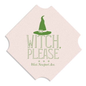 ForYourParty's chic White Square Coaster with Shiny Kiwi / Lime Foil has a Witch's Hat graphic and is good for use in Halloween themed parties and couldn't be more perfect. It's time to show off your impeccable taste.