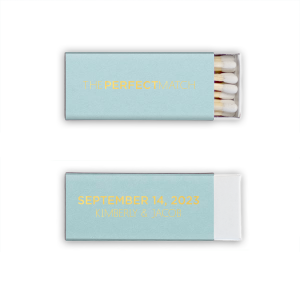Personalized Poptone Sky Blue Euro Matchbox with Shiny 18 Kt Gold Foil will look fabulous with your unique touch. Your guests will agree!
