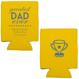 Our custom Yellow Flat Can Cooler with Matte Stone Blue Ink has a sharp Diamond and Trophy graphic and is good for use in Sports, Family and Father's Day themed parties and will add that special attention to detail that cannot be overlooked.