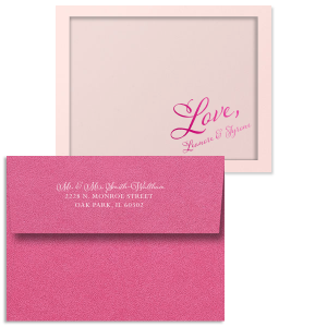 ForYourParty's elegant Poptone Peach Classic Note Card with Shiny Fuchsia Foil and Matte White Foil couldn't be more perfect. It's time to show off your impeccable taste.