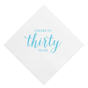 The ever-popular White Quick Ink Printed Cocktail Napkin with Matte Turquoise Ink will impress guests like no other. Make this party unforgettable.
